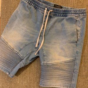 PacSun stretchy Jean shorts long drawstring sz M